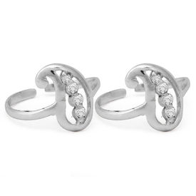 Tempting Carry Shape White CZ Silver Toe Rings-TR326