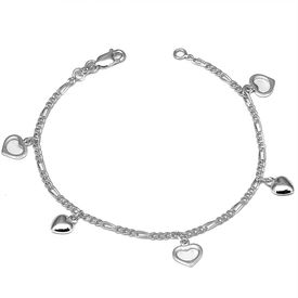 Admirable Heart Charms Sterling Silver Bracelete-BR017
