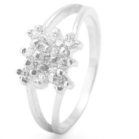 Graceful White Zircon Silver Finger Ring-FRL092
