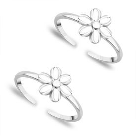 Full Bloom Silver Toe Ring-TR351