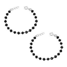 Silver & Black Beads Nazariya Sterling Silver Bracelet For Kids-BRNZ004