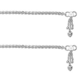 Pretty Rope Chain Sterling Silver Anklets-ANK071