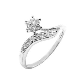 Marvelous Flower CZ Silver Finger Ring-FRL006, 12