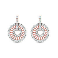 Circled Cluster Bali Diamond Earrings-RBL0058, si-jk, 18 kt
