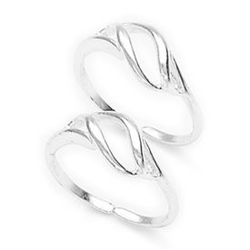 Loop Pattern Cutwork Silver Toe Ring-TR217