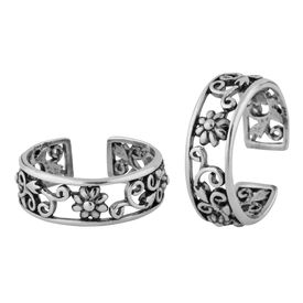 Fabulous Flower Cutwork Sterling Silver Toe Ring-TR376