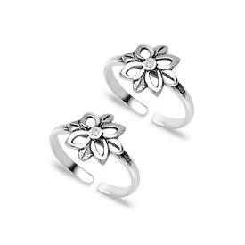 Antique Floral Zircon Toe Ring-TR115