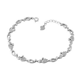 Bright Heart & Duck Zircon Sterling Silver Bracelete-BR020