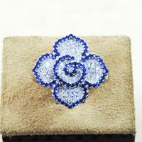 Pretty White & Blue CZ Finger Ring-FRL034
