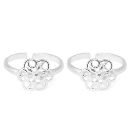 Graceful Flower Shape Silver Toe Ring-TR303