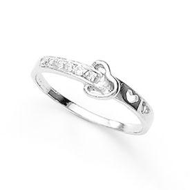 Charming Heart Zircon Silver Finger Ring-FRL059