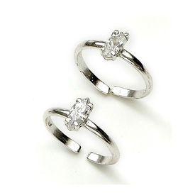 Delightful White Zircon Silver Toe Ring-TR137