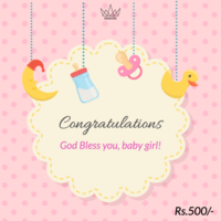 Congrulations Baby Girl Arrival Gift Card, 500