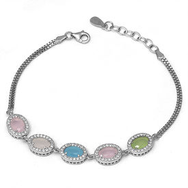 Magnificent Multi Color Stone Silver Bracelet-BR016