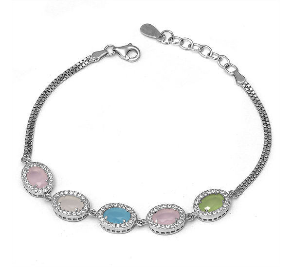 Magnificent Multi Color Stone Silver Bracelet Buy 925 Sterling
