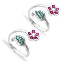 Leafy Flower Silver Toe Ring-TR435