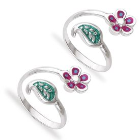 Bewitching Flower & Leaf Design Sterling Silver Toe Ring-TR435