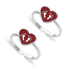 Enamel Heart & Footprint Design Sterling Silver Toe Ring-TR408