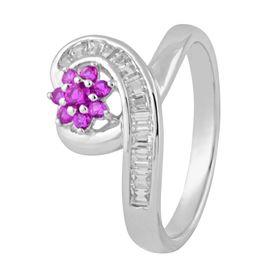 Captivating Heart & Flower Design Zircon Silver Finger Ring-FRL126