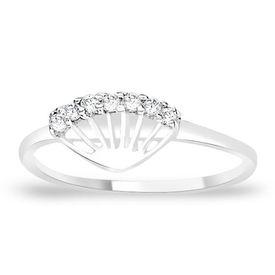 Sparkling White Zircon Silver Finger Ring-FRL061, 12