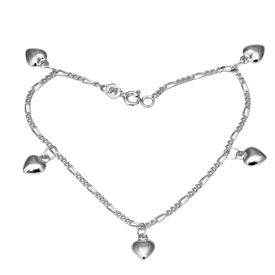 Shiny Heart Charms Sterling Silver Bracelete-BR019