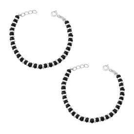 Kids Nazariya With Silver & Black Beads Sterling Silver Bracelet-BRNZ005