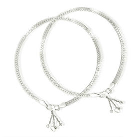 Flat Cutwork Chain Silver Anklets-ANK072