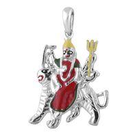 Goddes Durga On Lion Enamel Sterling Silver Pendant-PD169