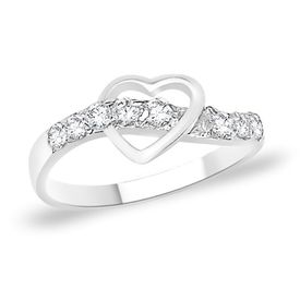 Spectacular Heart CZ Silver Finger Ring-FRL049