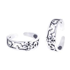 Pleasant Flower & Cutwork Silver Toe Ring-TR369