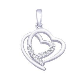 Glittering Double Heart CZ Sterling Silver Pendant-PD137