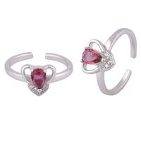 Heart Stone Silver Toe Rings-TRMX119