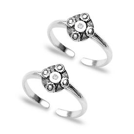Antique Finish Zircon Toe Rings-TR166