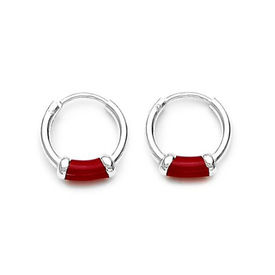 Red Enamel Sterling Silver Hoops Earrings-ER060