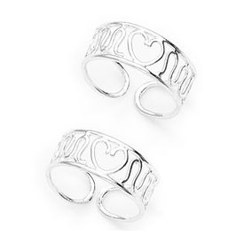 Heart Pattern Silver Toe Ring-TR266