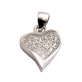 Magnetic Heart CZ Sterling Silver Pendant-PDMX009