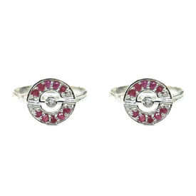 Charming Pink & White Zircon Silver Toe Ring-TOER051