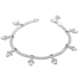 Sparkling Hearts Charms Anklets-ANK065