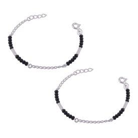 Silver & Black Beads Sterling Silver Kids Nazariya Bracelet-BRNZ009