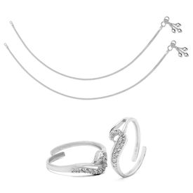 Lovely Sterling Silver Anklets & CZ Toe Rings Combo-ANKTR004