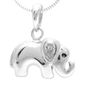 Elephant design White Zircon Silver Pendant-PD105