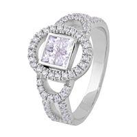 Glittering White Zircon Sterling Silver Finger Ring-FRL127, 17