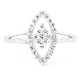 Mesmeric White CZ Silver Finger Ring-FRL001