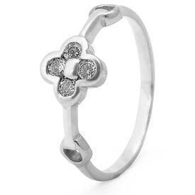 Lovely White Zircon Silver Finger Ring-FRL089
