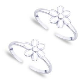 Beautiful Flower Design Sterling Silver Toe Ring-TR351