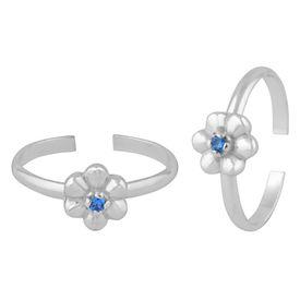 Flower Zircon Silver Toe Ring-TR389