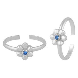 Flower Zircon Sterling Silver Toe Ring-TR389