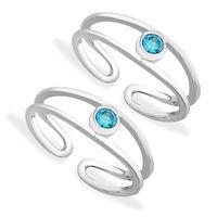 Blue Zircon Silver Toe Ring-TR367