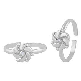 Majestic Flower Zircon Sterling Silver Toe Ring-TR402