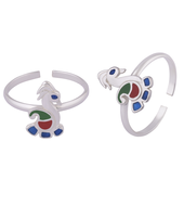 Peacock Silver Toe Rings-TRMX118